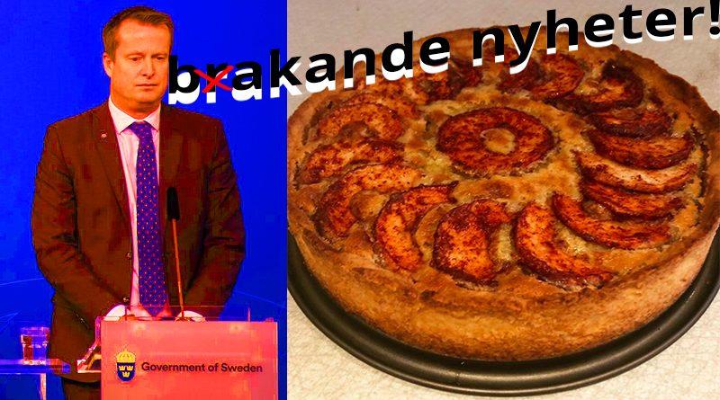 Energi- och digitaliseringsministern uppges ätit äppelpaj med mazarinfyllning